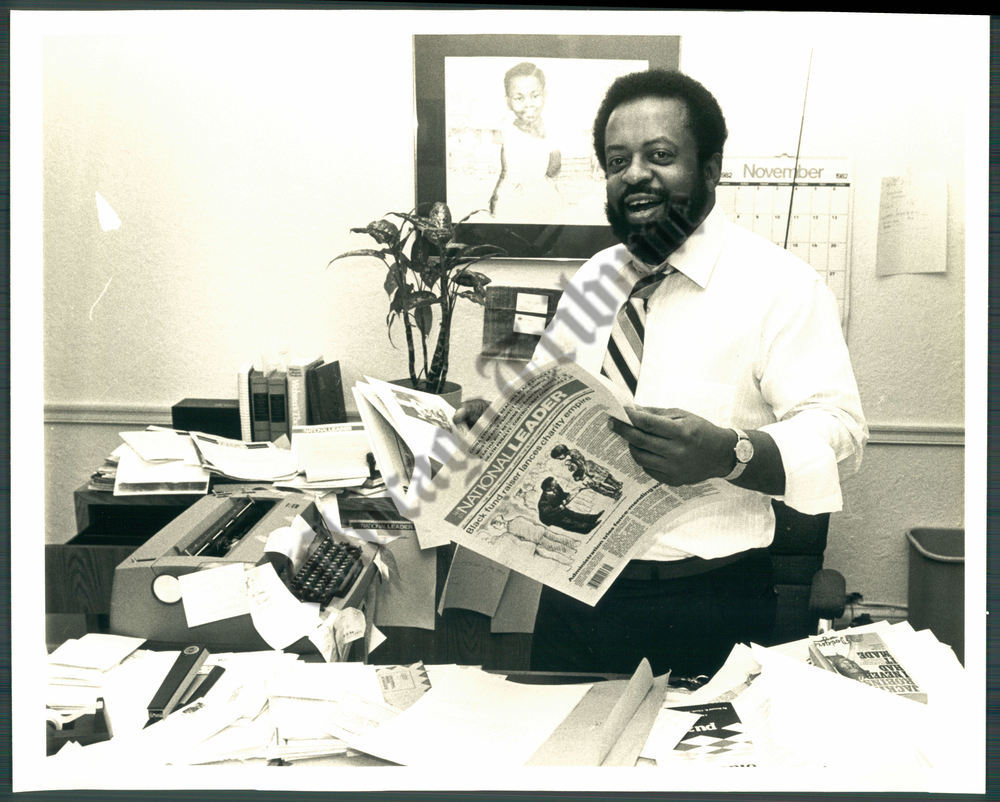 This photo of Claude Lewis at the Philadelphia office of the National Leader accompanied a Dec. 19, 1982, Associated Press story on the weeky's launch.