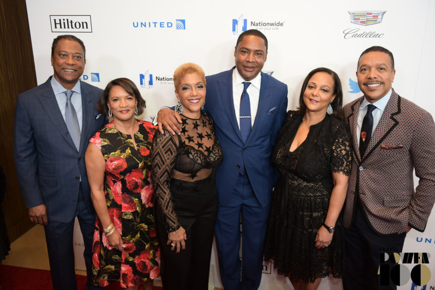 At the Ebony Power 100 Gala at the Beverly Hilton Hotel in December, from left: Michael Gibson, chairman of CVG Group, Ebony's owner; Machree Gibson; Linda Johnson Rice, CEO of Ebony Media Operations; CVG co-founder Willard Jackson, EMO CEO Cheryl Mayberry McKissack, former Ebony Media Operations CEO; and Eric McKissack. the company plans more such events. (Credit: Geoffrey Black, Ebony)