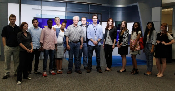 Georgia News Lab students at WSB-TV in Atlanta, 2015. Director David Armstrong, 2106 Bingham award winner, is fifth from left. (Credit: Georgia News Lab)