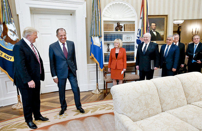 Much of the recent investigative reporting on President Trump involves what took place at this White House meeting with Russian officials this month, which was closed to American journalists. (Credit: Russian Foreign Ministry)