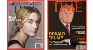 The real Time cover, left, and the fake one. (Credit: Washington Post)