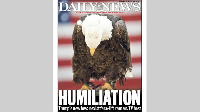 Friday's cover at the Daily News in New York.