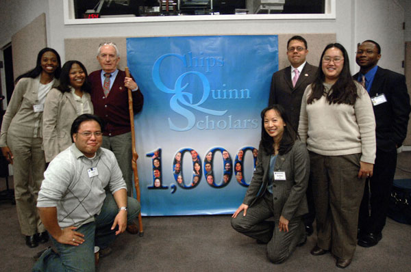 Standing from left: Wendy Isom, Nealy Gihan, John Quinn, Manny Lopez, Sue Stock and Getahn Ward. Kneeling: Cris Viola and Kristen Go. (Credit: Chips Quinn Scholars Program)