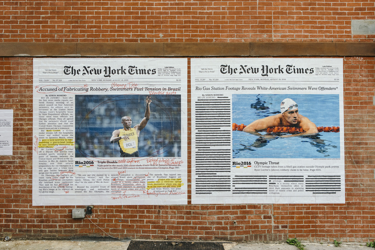 The New York Times' coverage of Ryan Lochte's Rio Olympics scandal, as reimagined by Alexandra Bell. (Courtesy We Are Not Pilgrims via Village Voice)