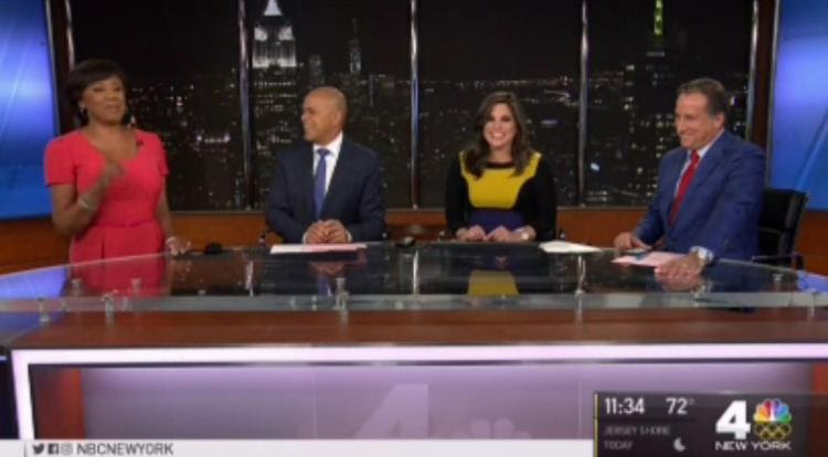 Natalie Pasquarella, 35, joined her co-hosts during the 11 p.m. news when she let out a quick giggle and waited for the newscast to end before telling anyone her water broke. (Credit: NBC)