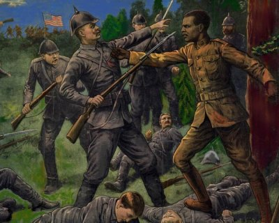 This image is taken from a World War I recruitment poster that prominently featured Henry Johnson, posthumously awarded the Medal of Honor. (Credit: U.S. Army)