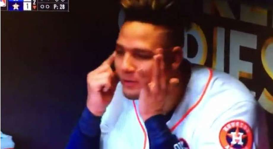After hitting a home run in the second inning off Yu Darvish, the Astros' Yuli Gurriel appears to mock Darvish in the dugout. (Credit: Twitter)