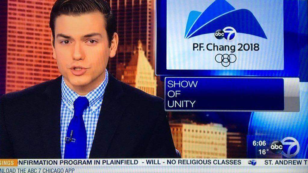 """WLS-Ch. 7 confuses Pyeongchang with P.F. Chang's on a Saturday morning broadcast. A spokesperson said the graphic was created for a different """"satirical piece,"""" the Chicago Tribune reported."""