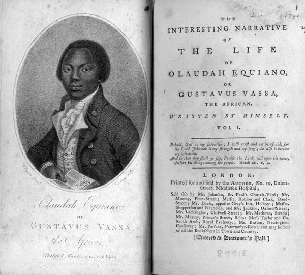 This frontispiece appeared in many early editions of Olaudah Equiano's autobiographical narrative. It conveys both his African birth, referenced in the title, and the British citizenship he claimed as an adult. He wrote that after he was captured and placed aboard a slaver he would have given anything to change places with a 'slave' in his own country.