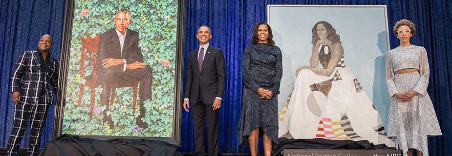 Portraits of Barack and Michelle Obama are unveiled at the National Portrait Gallery. (Credit: National Portrait Gallery)