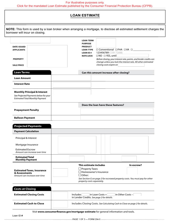Loan Estimate \u2013 RPI Form 204-5 first tuesday Journal - Loan Estimate Form