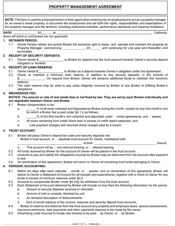 Property Management Agreement \u2014 RPI Form 590 first tuesday Journal - management agreements