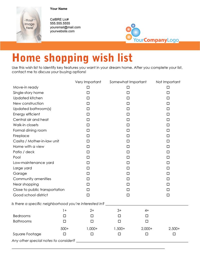 shopping checklist template
