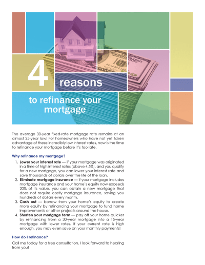 FARM: 4 reasons to refinance your mortgage | first tuesday Journal