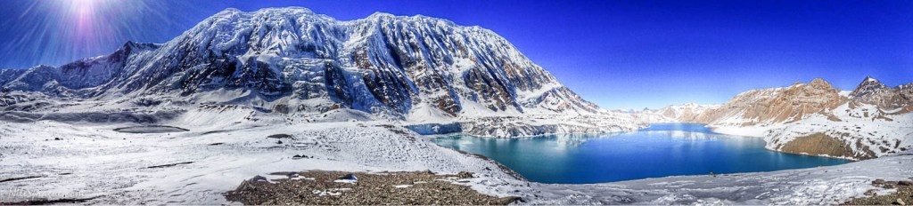 Panoramic view of Tilicho Lake, claimed to be the highest elevation lake in the world at 16,237 feet. Manang District.