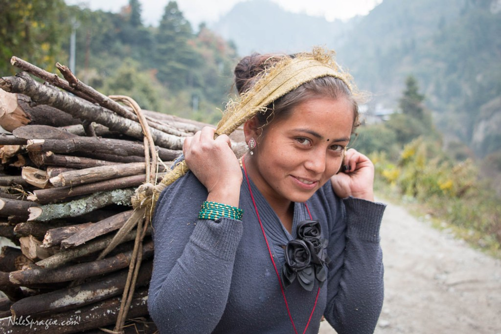 Woman carrying firewood on her back, with weight supported by a tumpline strap on her head, Bagarchhap, Manang District. Deforestation is prevalent in this region, and poses a substantial threat to the environment. The job of collecting firewood typically falls to women, who must range for many miles to forage for the fuel. Wealthier homes sometimes have access to propane fuel, but it is very costly to transport into these remote villages. The other alternative is to burn animal dung, which is often the choice in areas lacking forest resources.