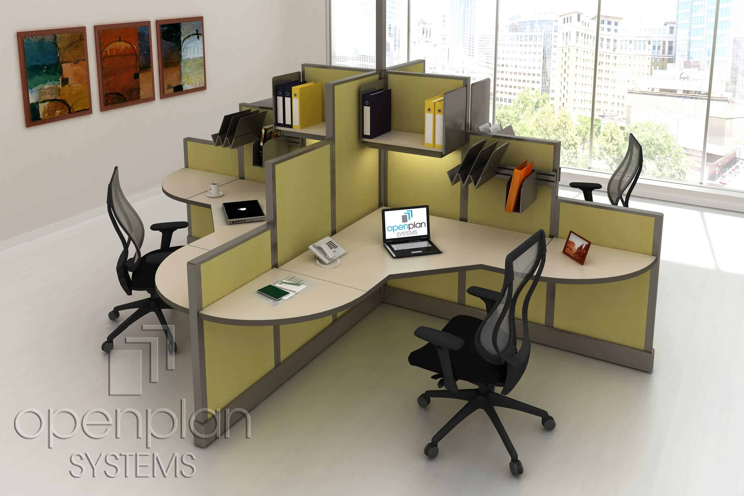 Workstation Furniture Modern Clover Shaped Office Workstation For 4 People