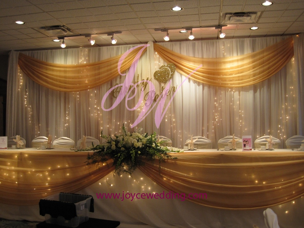 Diy Wedding Backdrop With Lights Twinkle Lights And Gold Sash Backdrop Decoration