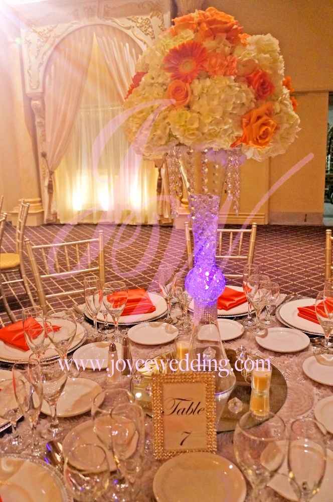 Coral And Orange Centerpieces For Wedding Dinner Reception