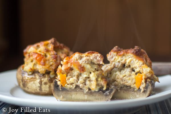 Mushrooms Stuffed with Sausage, Peppers, & Onions - Sausage peppers & onions are a favorite combo. When I used those in stuffed mushrooms I knew. They were the BEST EVER. Low Carb, Gluten/Grain Free, THM S.
