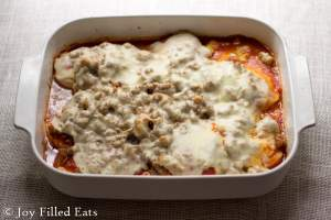 This Italian Sausage & Chicken Bake only takes 35 minutes! For a weeknight dinner it is impressive. Low carb, THM S, gluten/grain free.