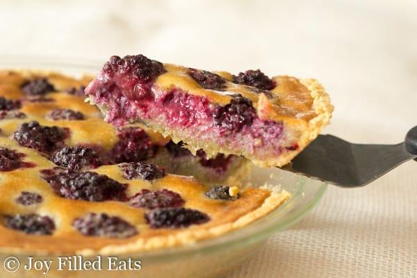 Blackberry Custard Pie - Low Carb, Sugar Gluten Grain Free, THM S