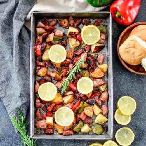 Medium Of Sausage And Peppers In Oven