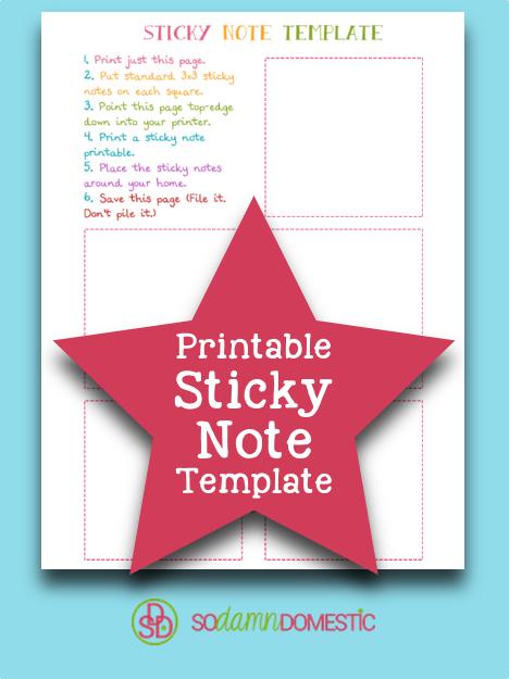 Blank Printable Sticky Note Template - Joyful Abode