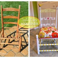 WHISICAL HAND PAINTED FURNITURE  - RUBBER STAMPED CHAIR