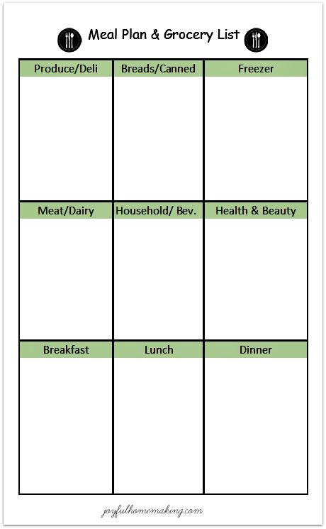Free Printable Menu Planner and Grocery List - Joyful Homemaking