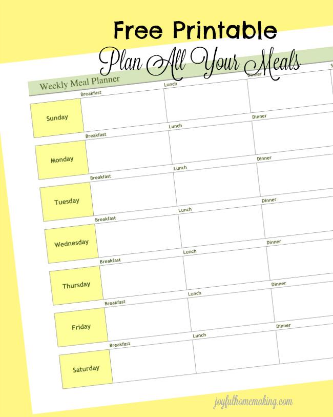 Weekly Meal Planner Printable - Joyful Homemaking - printable meal planner