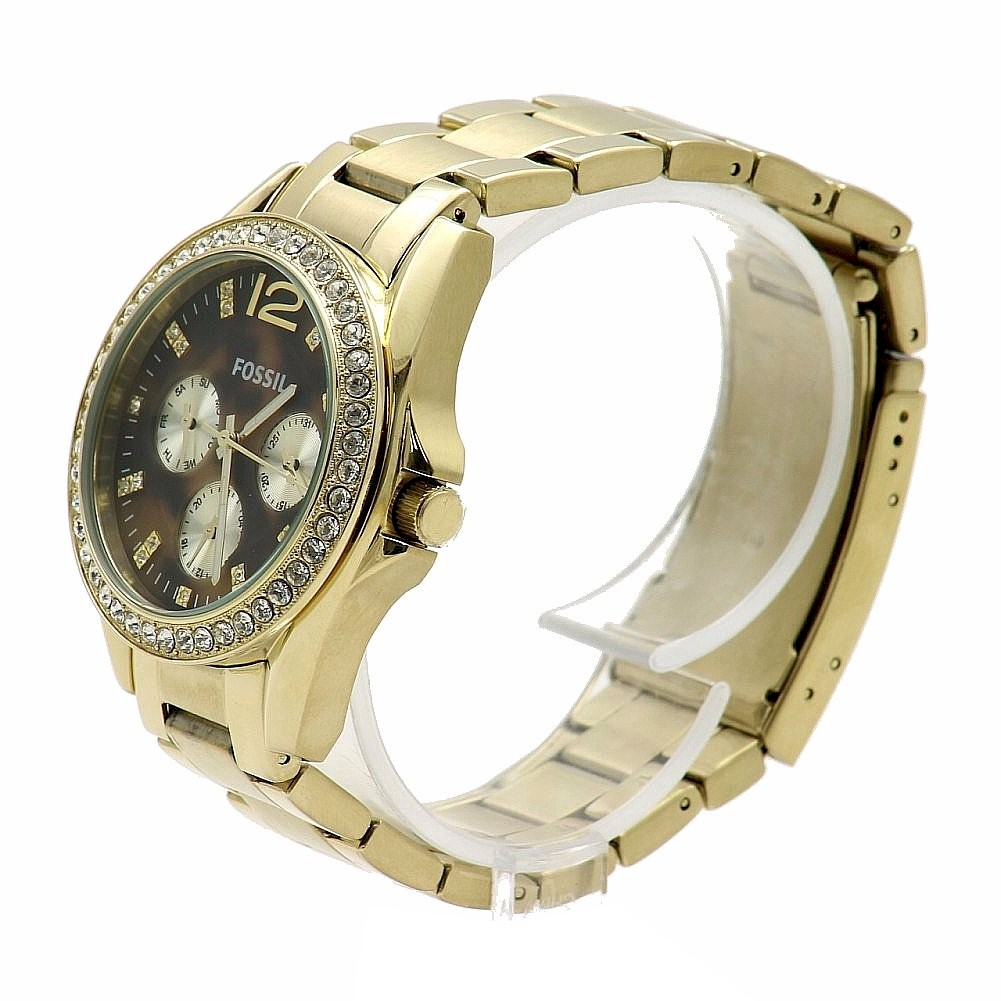 Fossil Riley Fossil Women S Riley Es3364 Gold Tortoise Stainless Steel Analog Watch