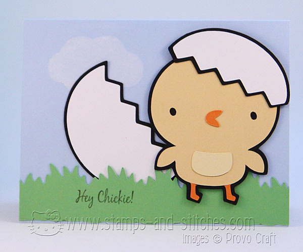 Hey Chickie! Baby Chick Card with Joy's Life Stamps & Cricut Create a Critter Cartridge