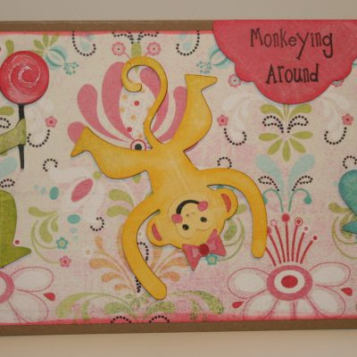 Featured Designer – Paisley Cricut Monkey Card Using Joy's Life Lots of Pun Stamp Set