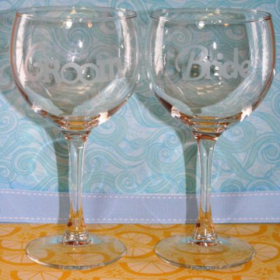 Happily Ever After Blog Hop – Glass Etched Bride & Groom Wine Glasses