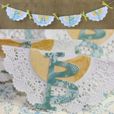 Easy Doily Baby Banner with Glue Dots