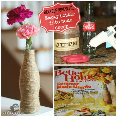 Twine Vase from Coke Bottle Better Homes and Gardens Magazine Knockoff