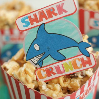 Shark Week Popcorn Box & White Chocolate Peanut Butter Popcorn Recipe