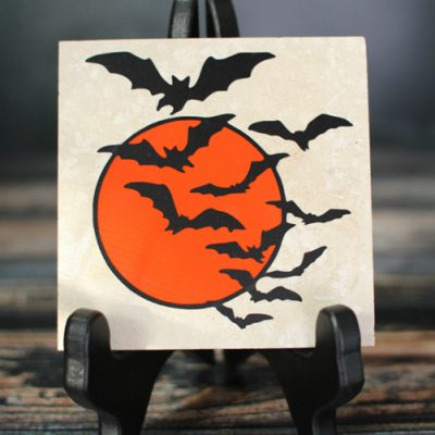 Vinyl Bat Swarm Travertine Tile Drink Coaster