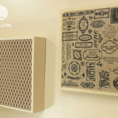 Burlap and Paper Wall Art from 12×12 Kraft Boxes
