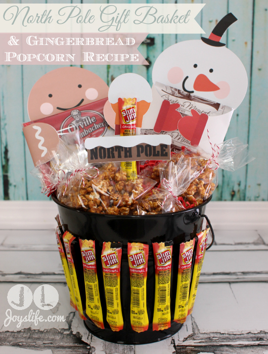 North Pole Gift Basket and Gingerbread Popcorn Recipe #EasyGifts #shop #MyKindofHoliday #cbias #popcorn