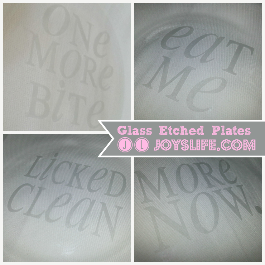 Glass Etched Dessert Plates for Gifts #vinyl #GlassEtch #crafts #diy