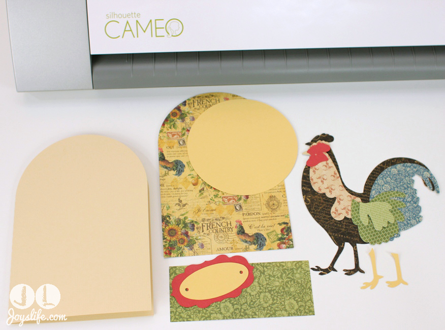 Modern Country Shabby Chic Rooster Card #SVGCuts #JoysLifeStamps #rooster #card #SilhouetteCameo