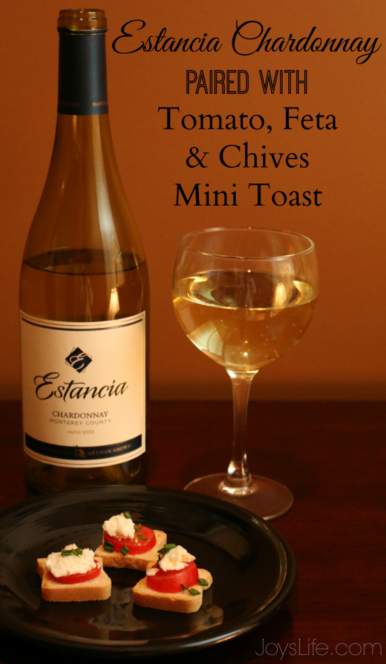 msg 4 21+ Estancia Chardonnay paired with Tomato Feta & Chives Mini Toast #ArtOfEntertaining #Ad