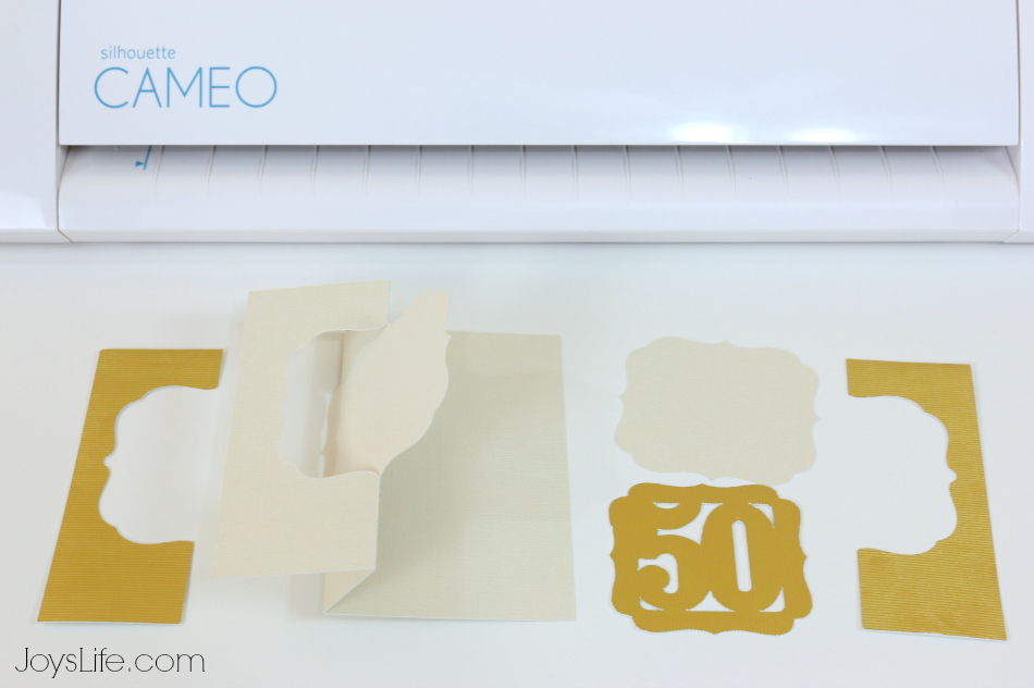 50th Wedding Anniversary Gold Embossed Card with the Silhouette Cameo and Cut N Boss #SilhouetteCameo #CutNBoss #LoriWhitlock