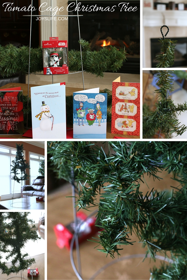 How to Make a Tomato Cage Christmas Tree Card Holder / JoysLife.com