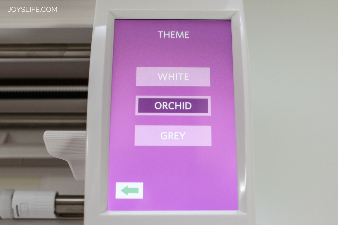 Silhouette Cameo 3 Orchid menu screen