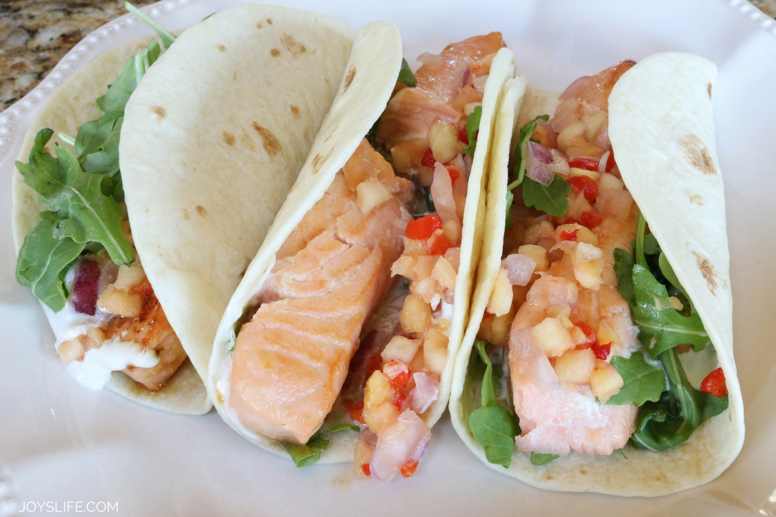 Pineapple Salmon Tacos with a Sour Cream Sauce