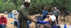National Park Ranger Shelton Johnson welcomes visitors to Yosemite