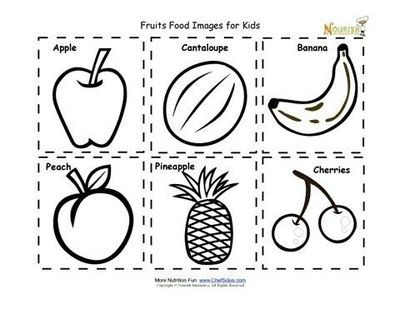 Fruit Food Nutrition Flash Cards Cut Out Printable for Kids